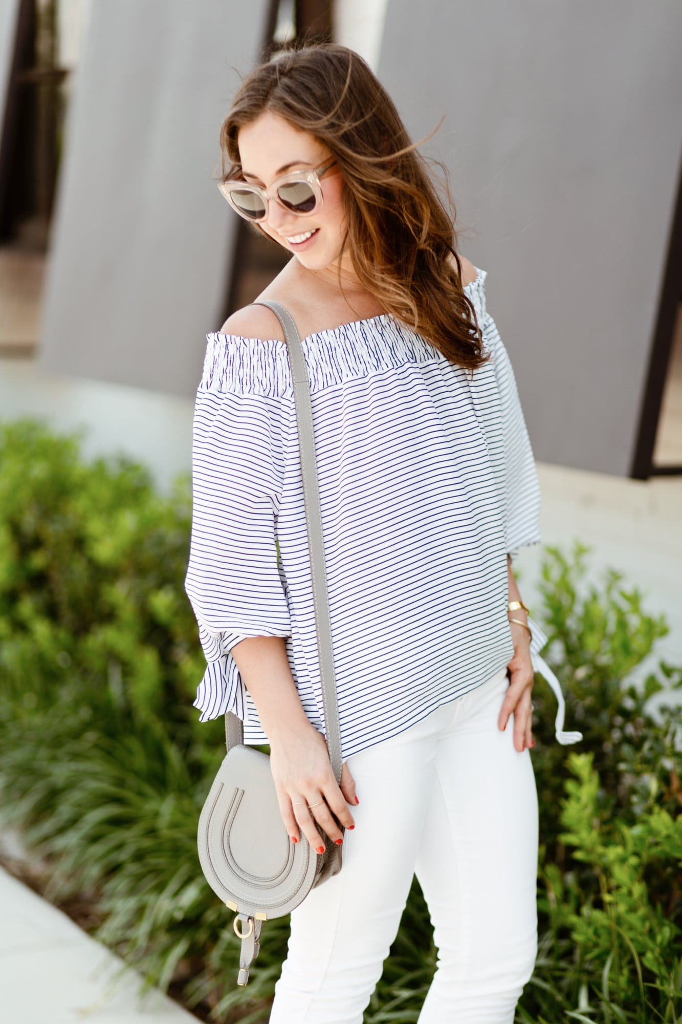 Blue and White Stripe Off the Shoulder top from Goodnight Macaroon