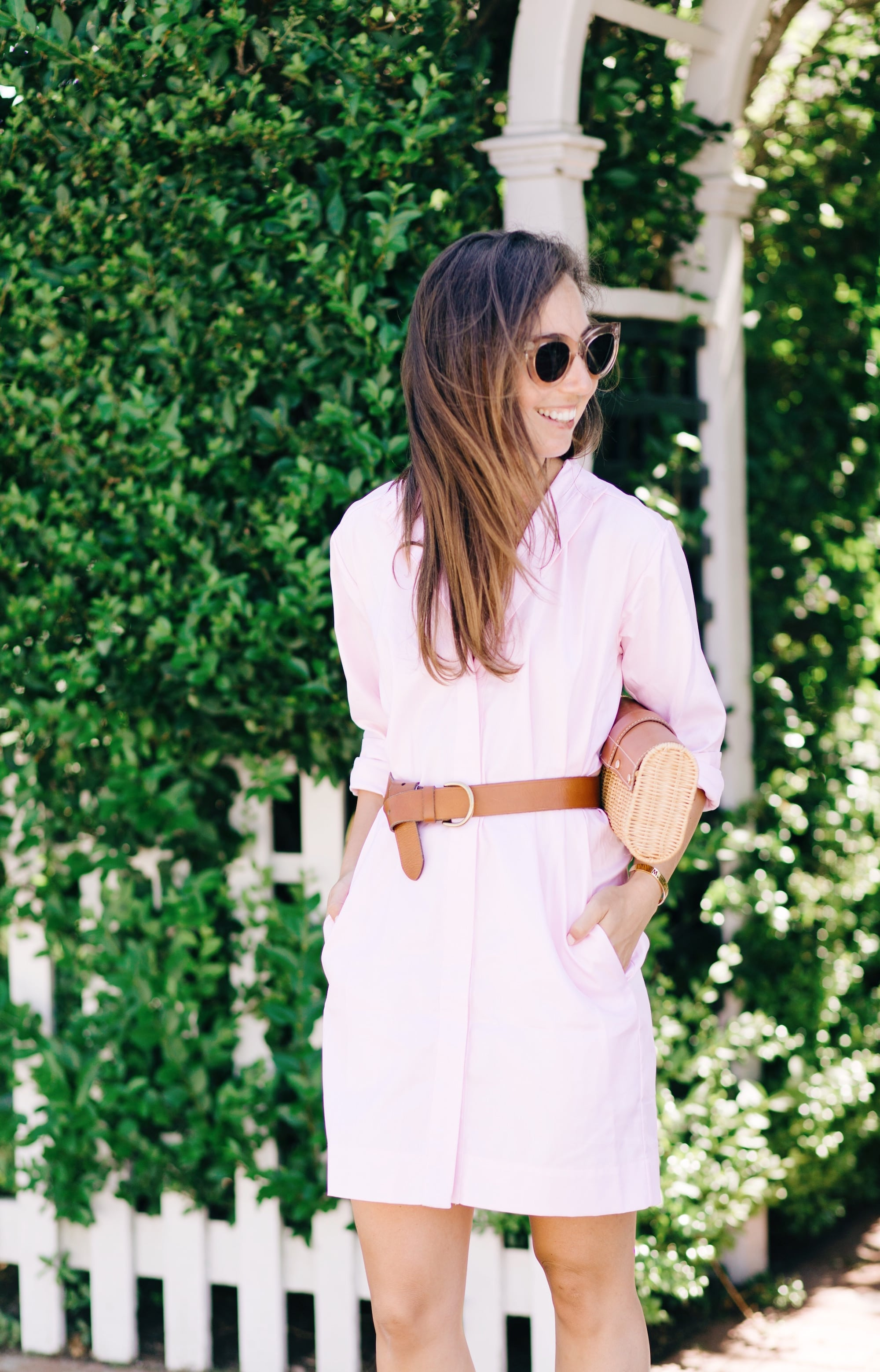 Celine Sunglasses and Pink Shirtdress