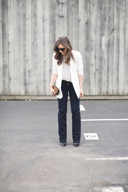 WhiteBlazerandFlareJeans