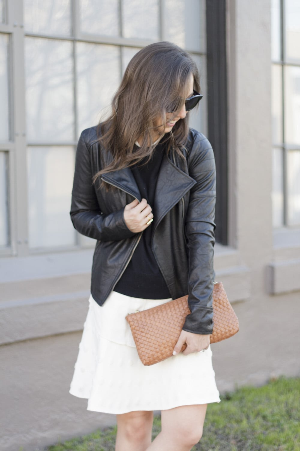 Leather Jacket and White Skirt_10