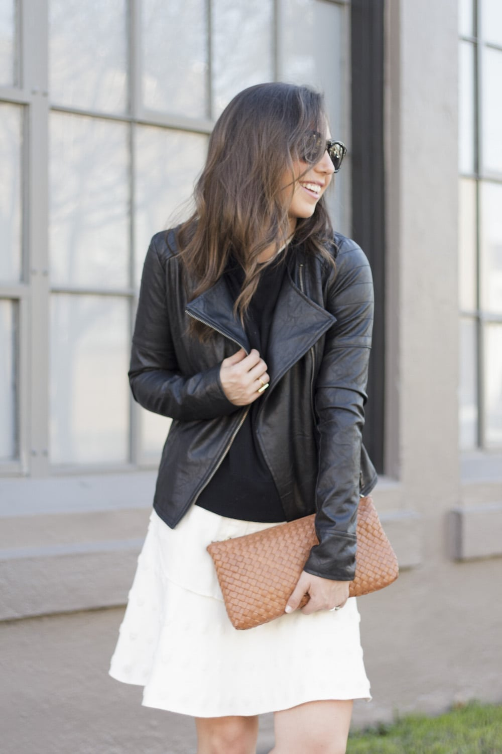Leather Jacket and White Skirt_11