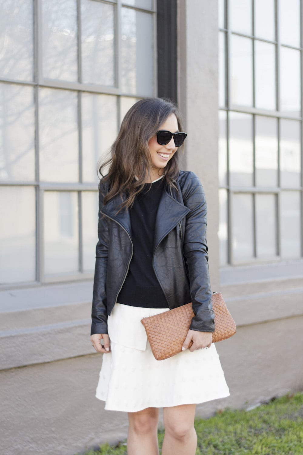 Leather Jacket and White Skirt_12
