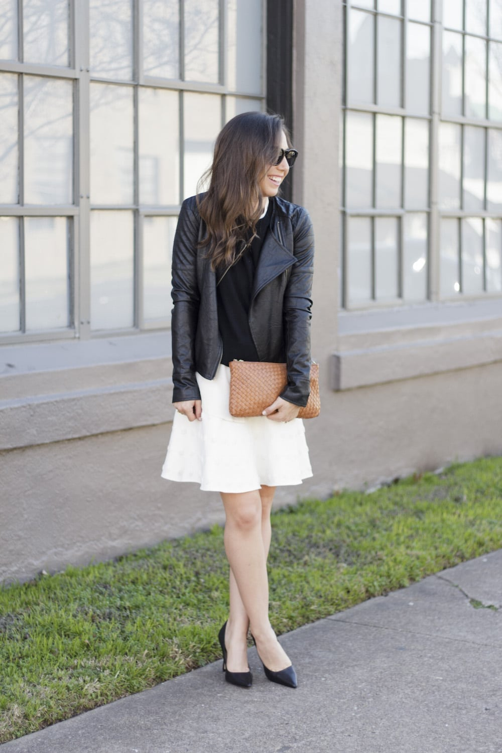 Leather Jacket and White Skirt_3