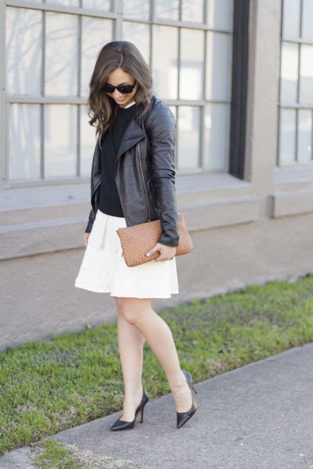 Leather Jacket and White Skirt_4