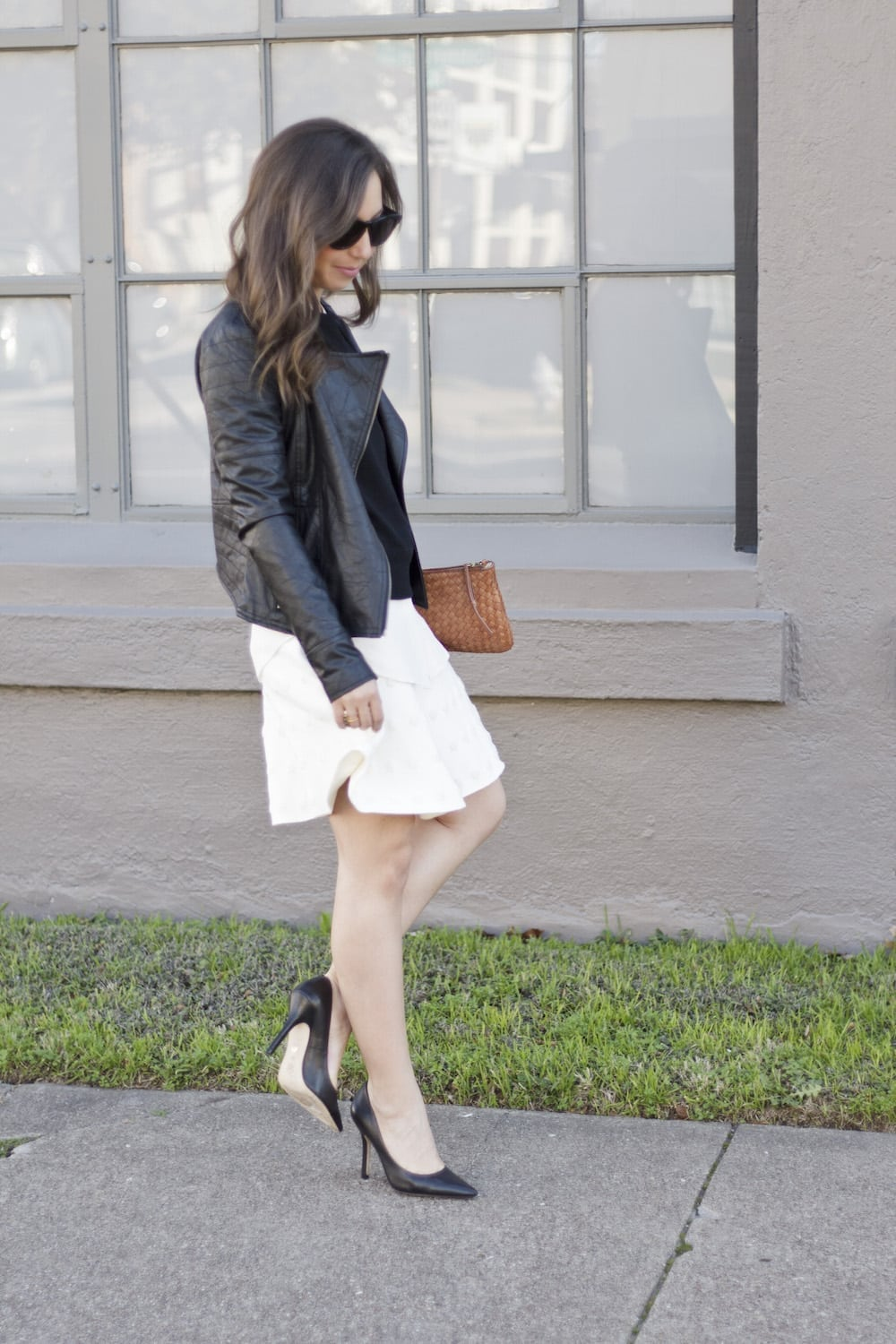 Leather Jacket and White Skirt_6