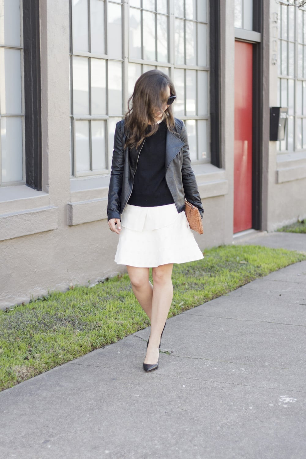 Leather Jacket and White Skirt_7