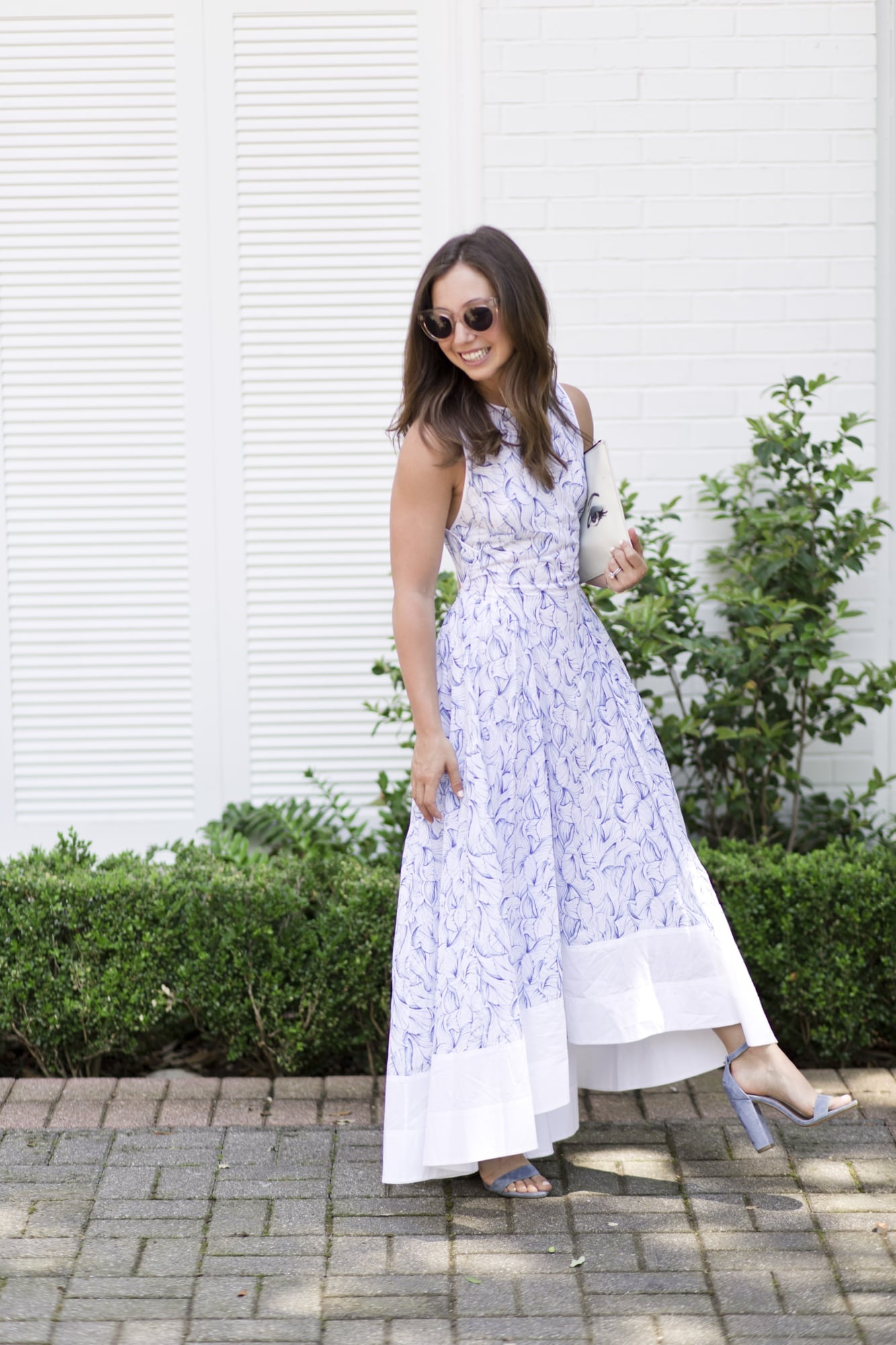 Tory Burch Blue and White Dress with Celine Sunglasses
