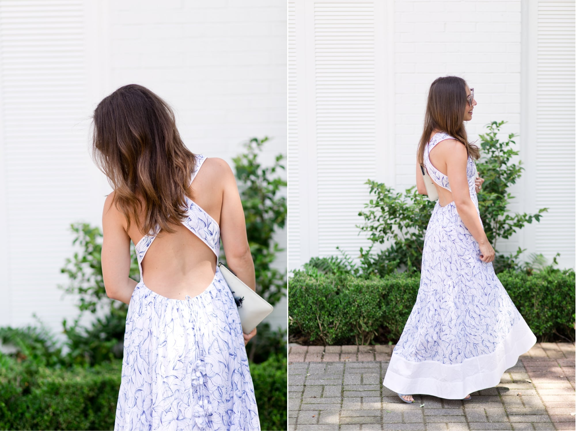 Back of Tory Burch Blue and White Floral Dress from Rent the Runway