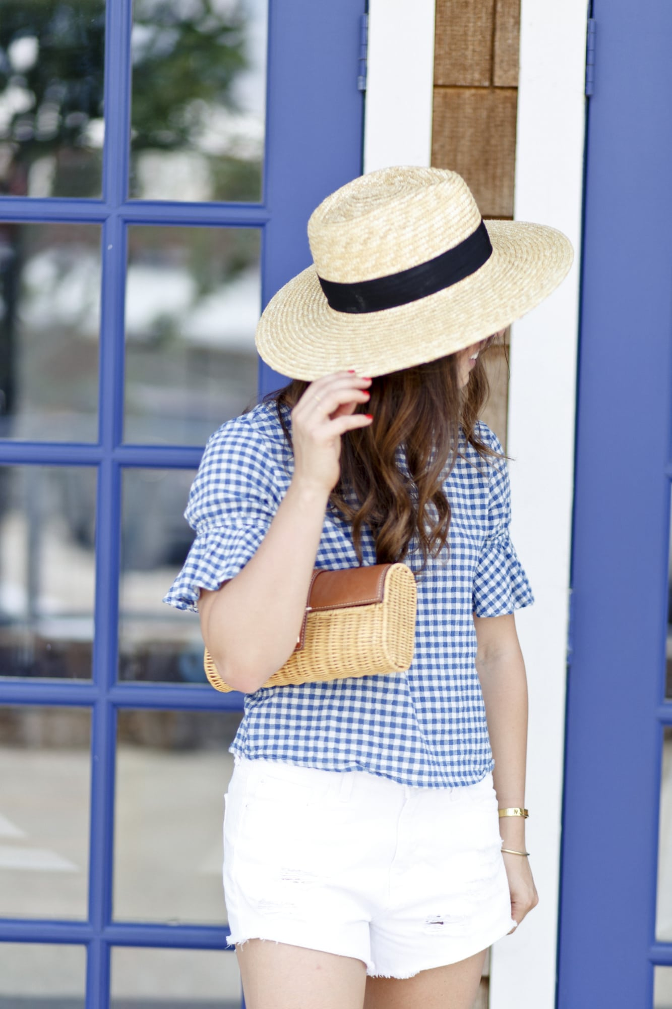 Gingham Top and J.McLaughlin Clutch