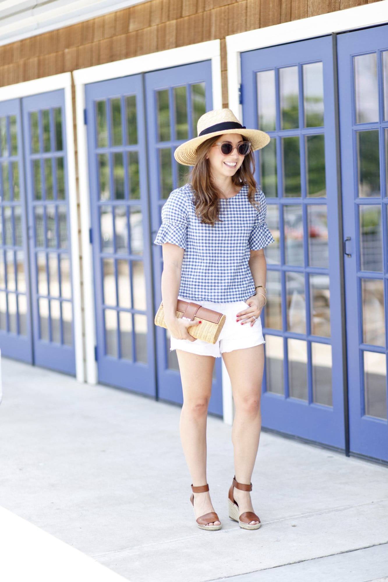 Gingham Top and White Cutoffs