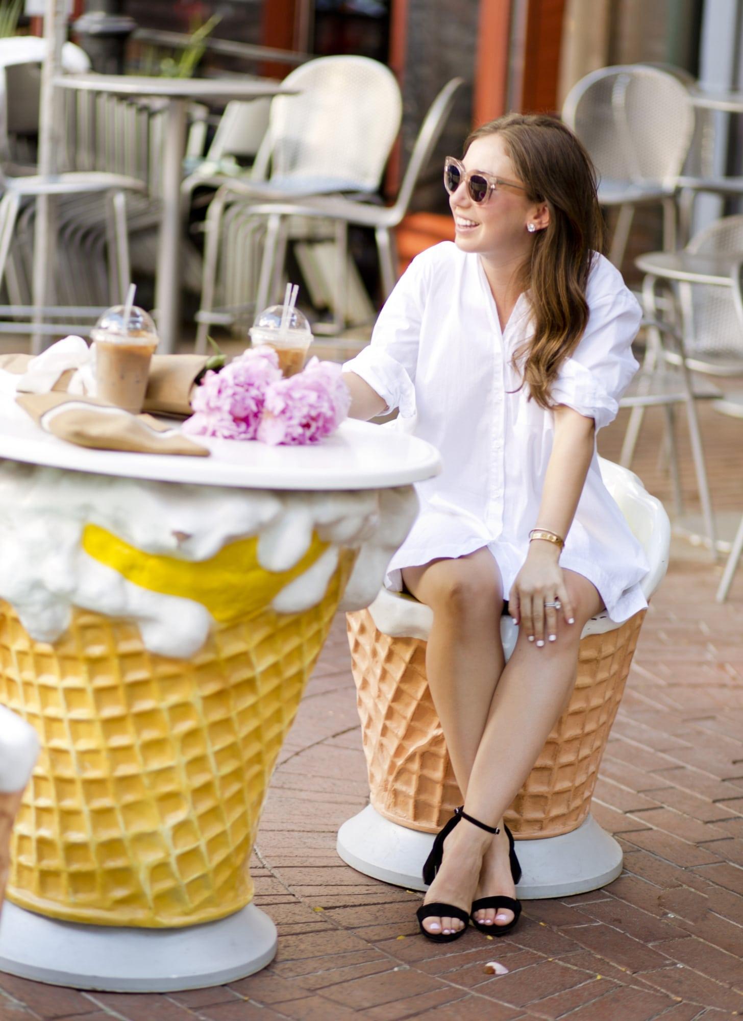 White Shirt Dress at Ice Cream Shop