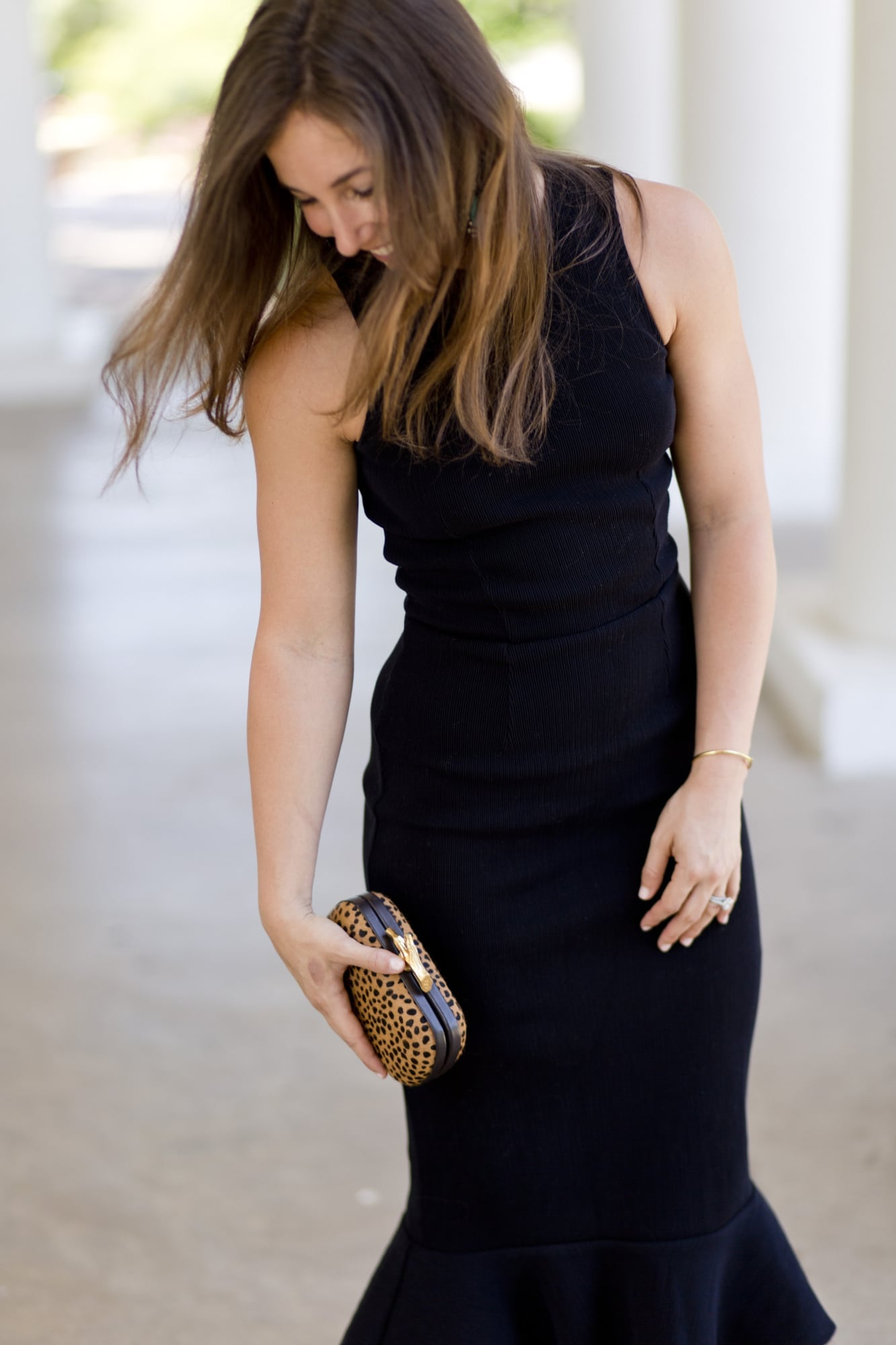 Cheetah Clutch and Black Bodycon Dress