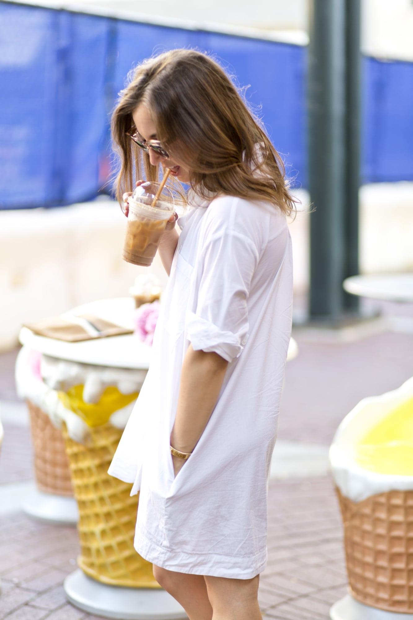Detail of Mini White Shirtdress