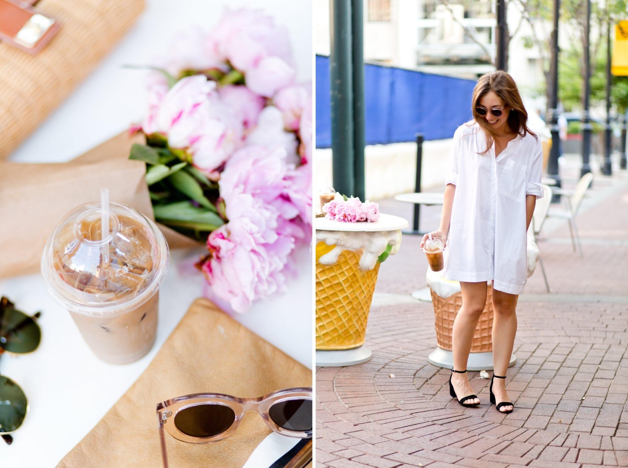 Pink Peonies and White Shirtdress