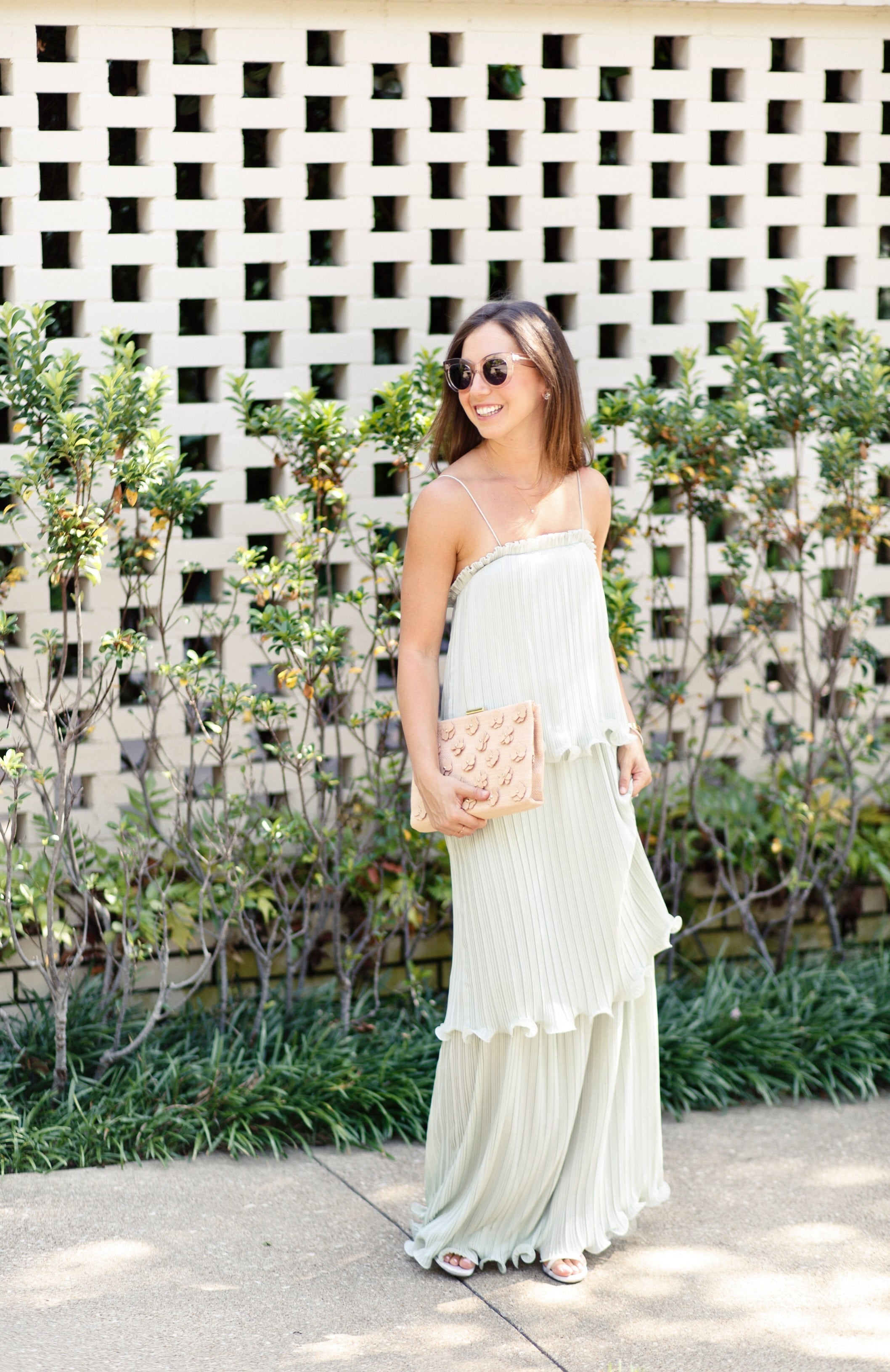 ASOS Clutch and Pleated Tiered Dress
