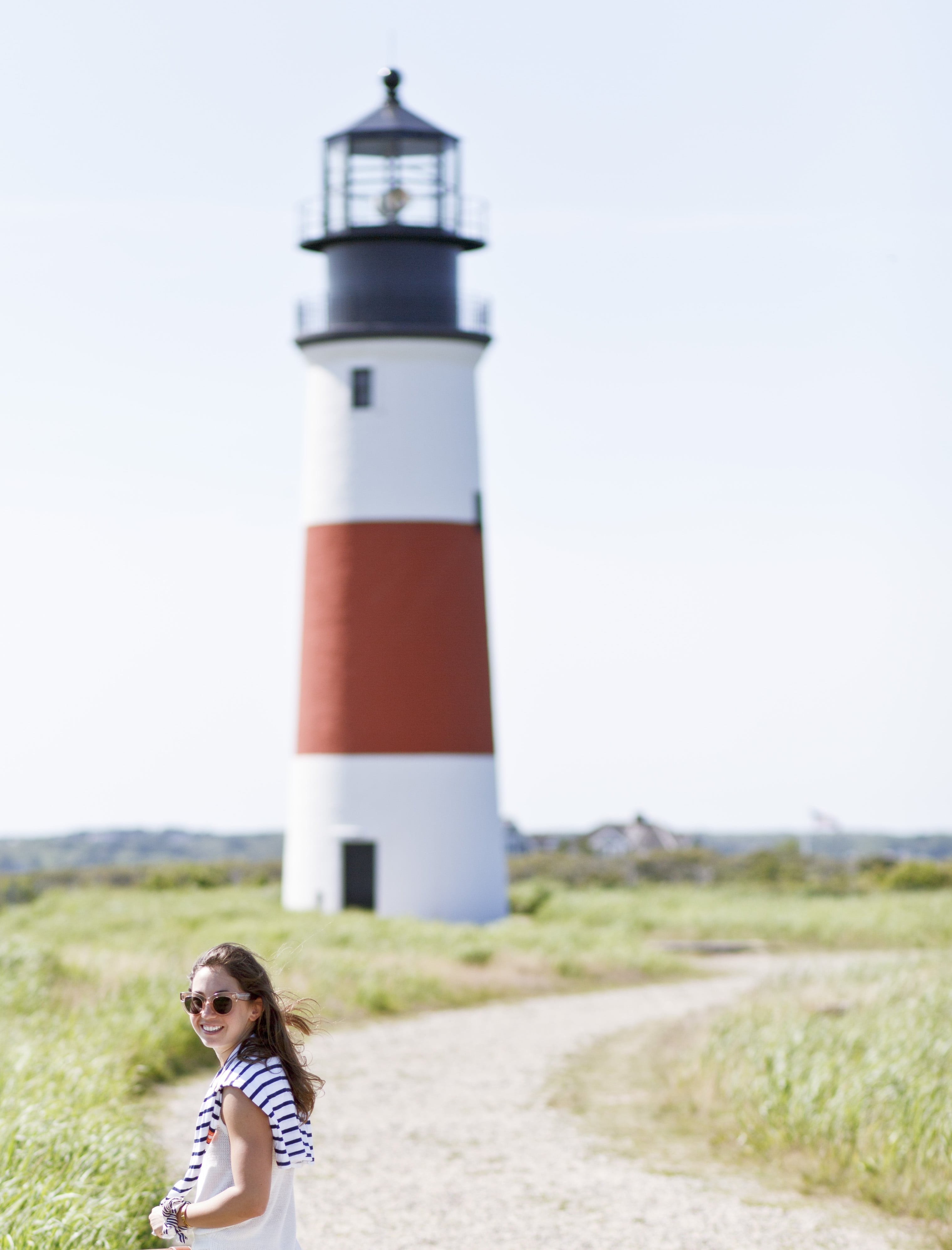 J.Crew All White Look at Sankaty Lighthouse