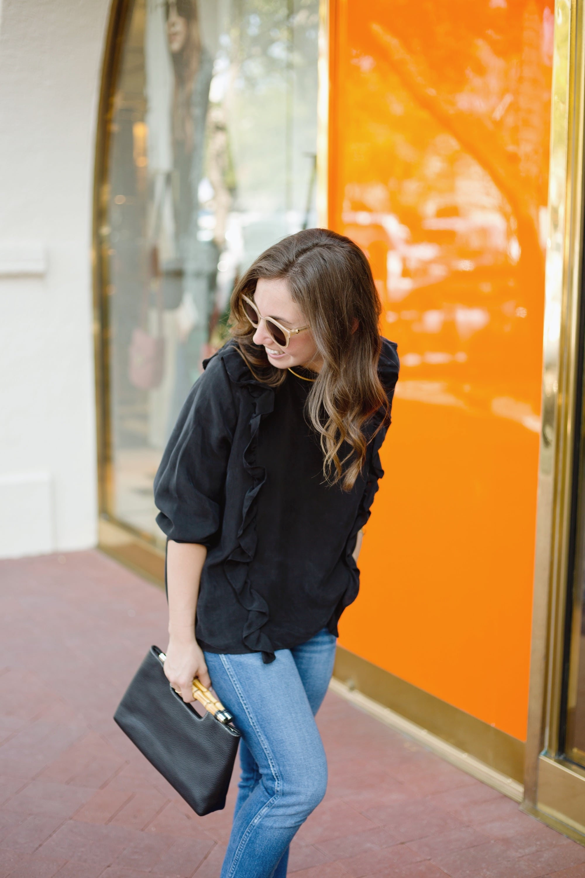 Black Ruffled Top