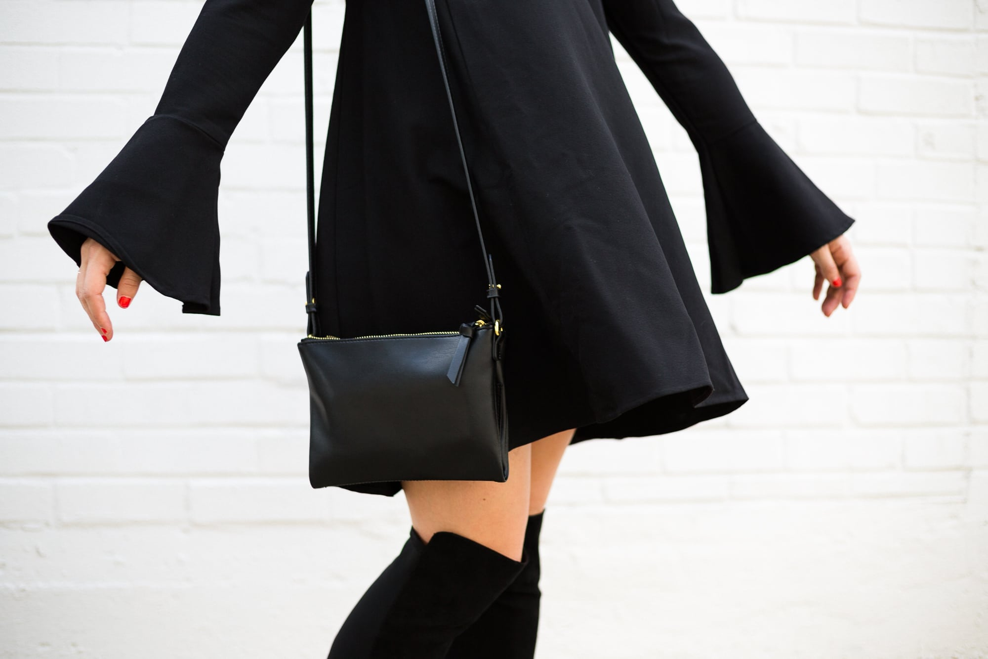 Crossbody Bag and Little Black Dress
