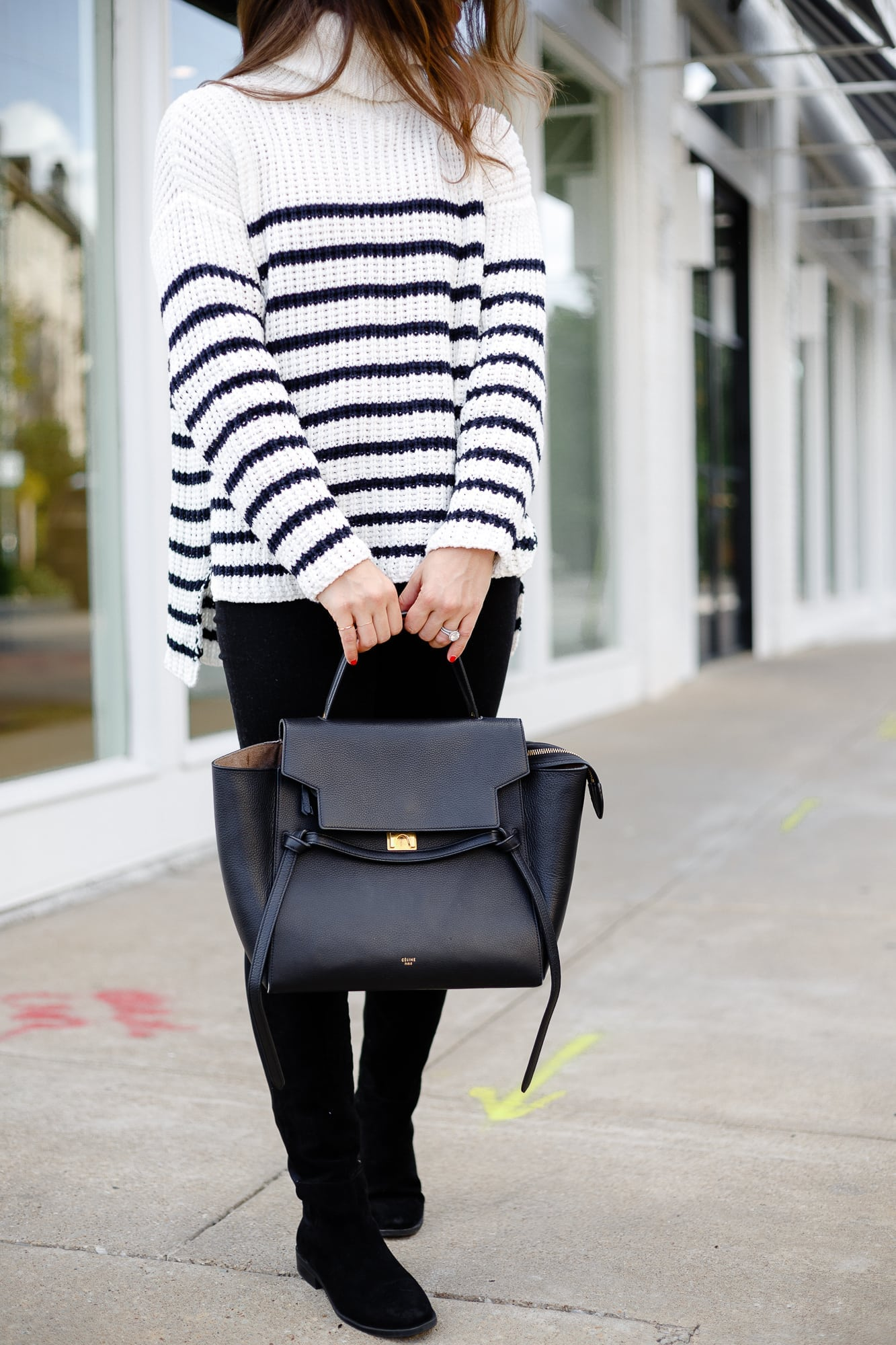 Details of Celine Bag and Striped Sweater