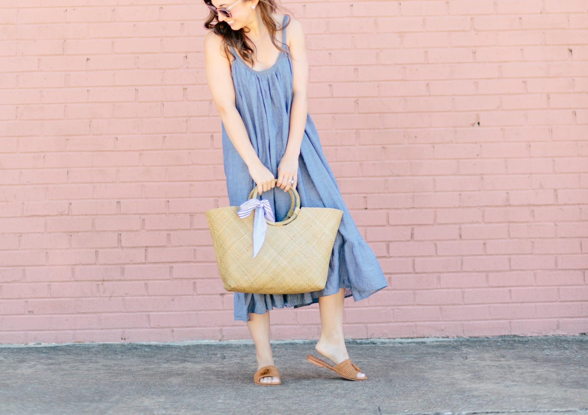 Market Tote Bag and Chambray Dress