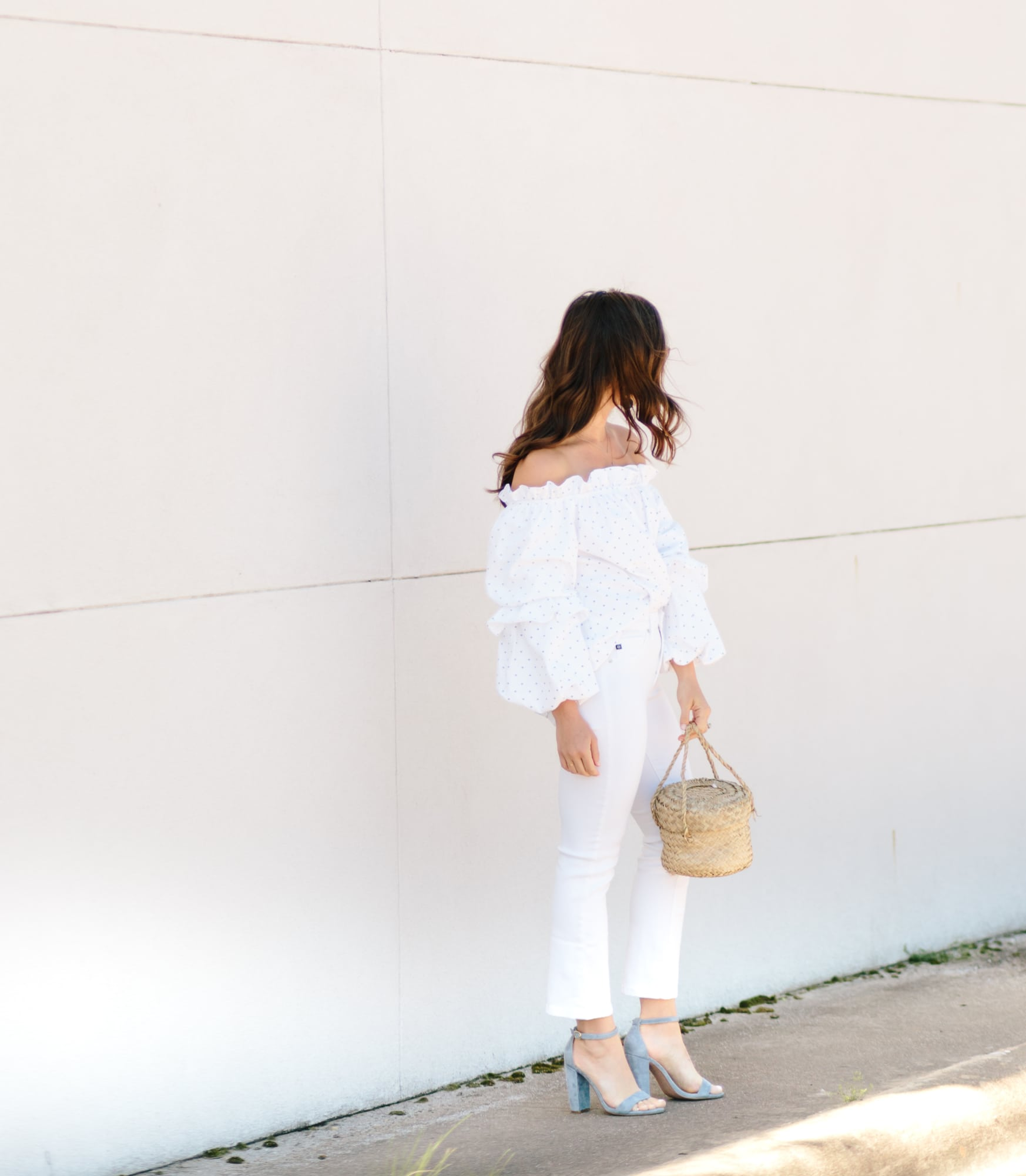 Off the Shoulder Top and White Jeans