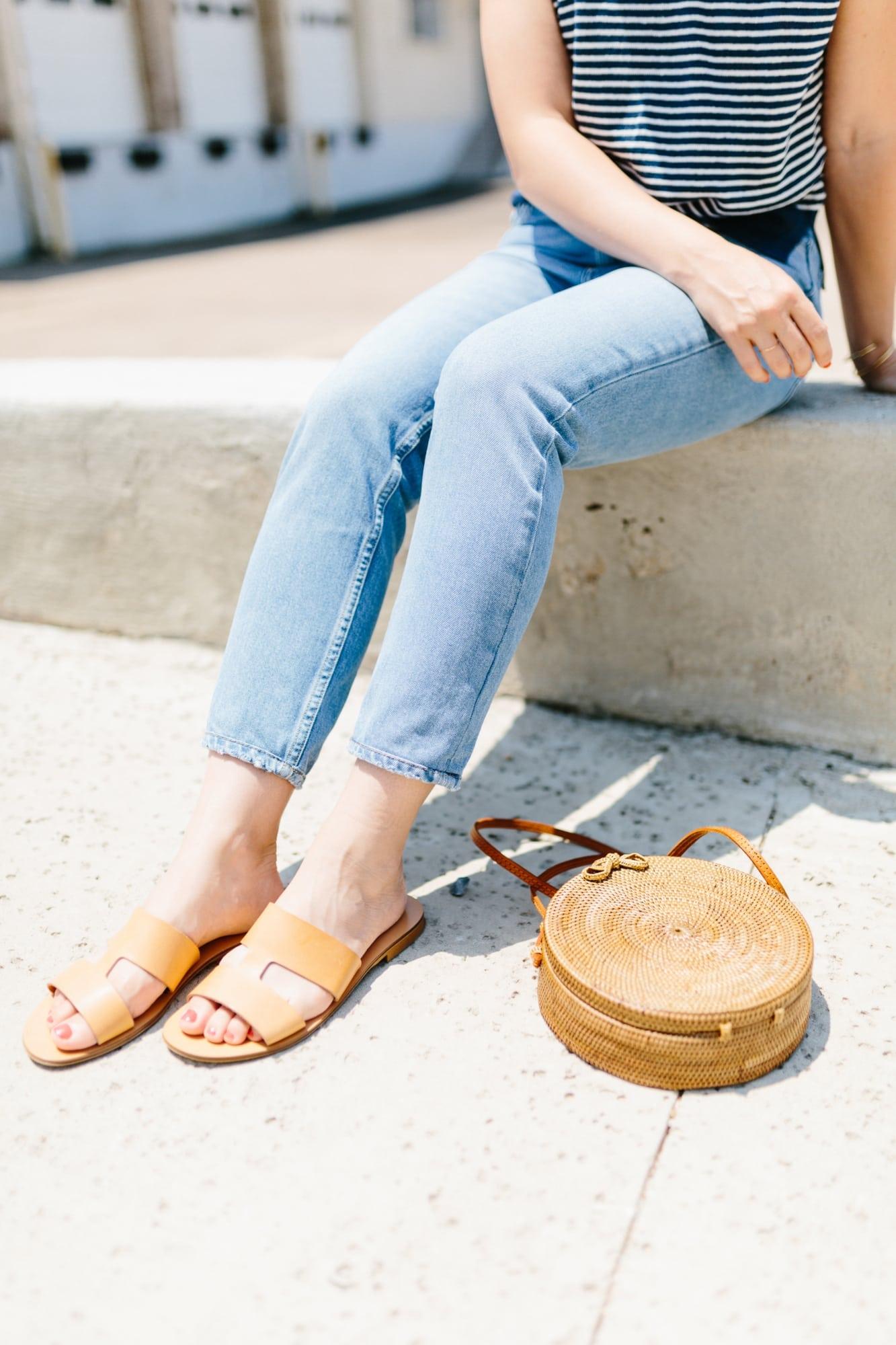 Everlane Tan Sandals and Round Basket Bag