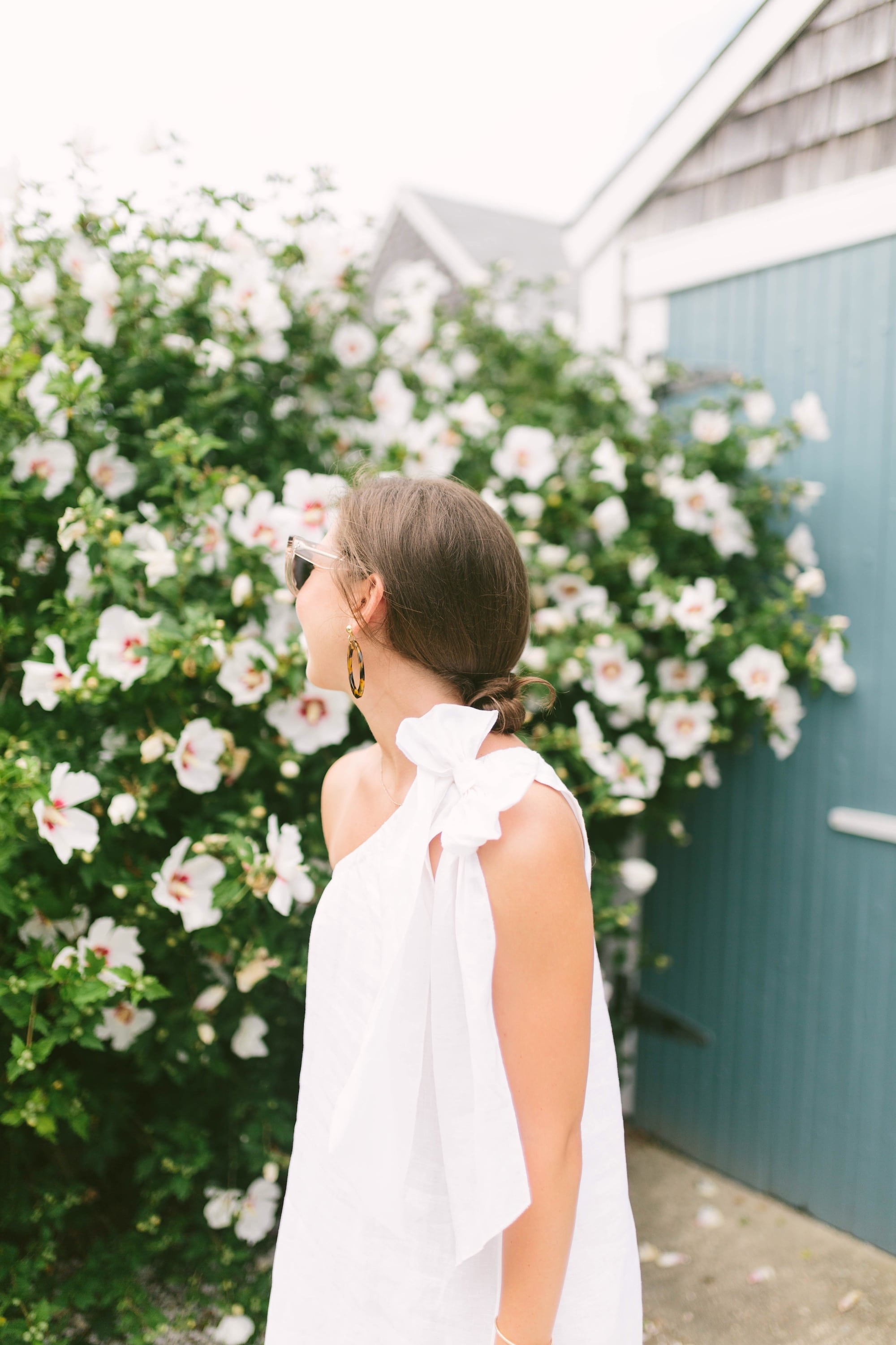 White Linen Dress with Bow Detail