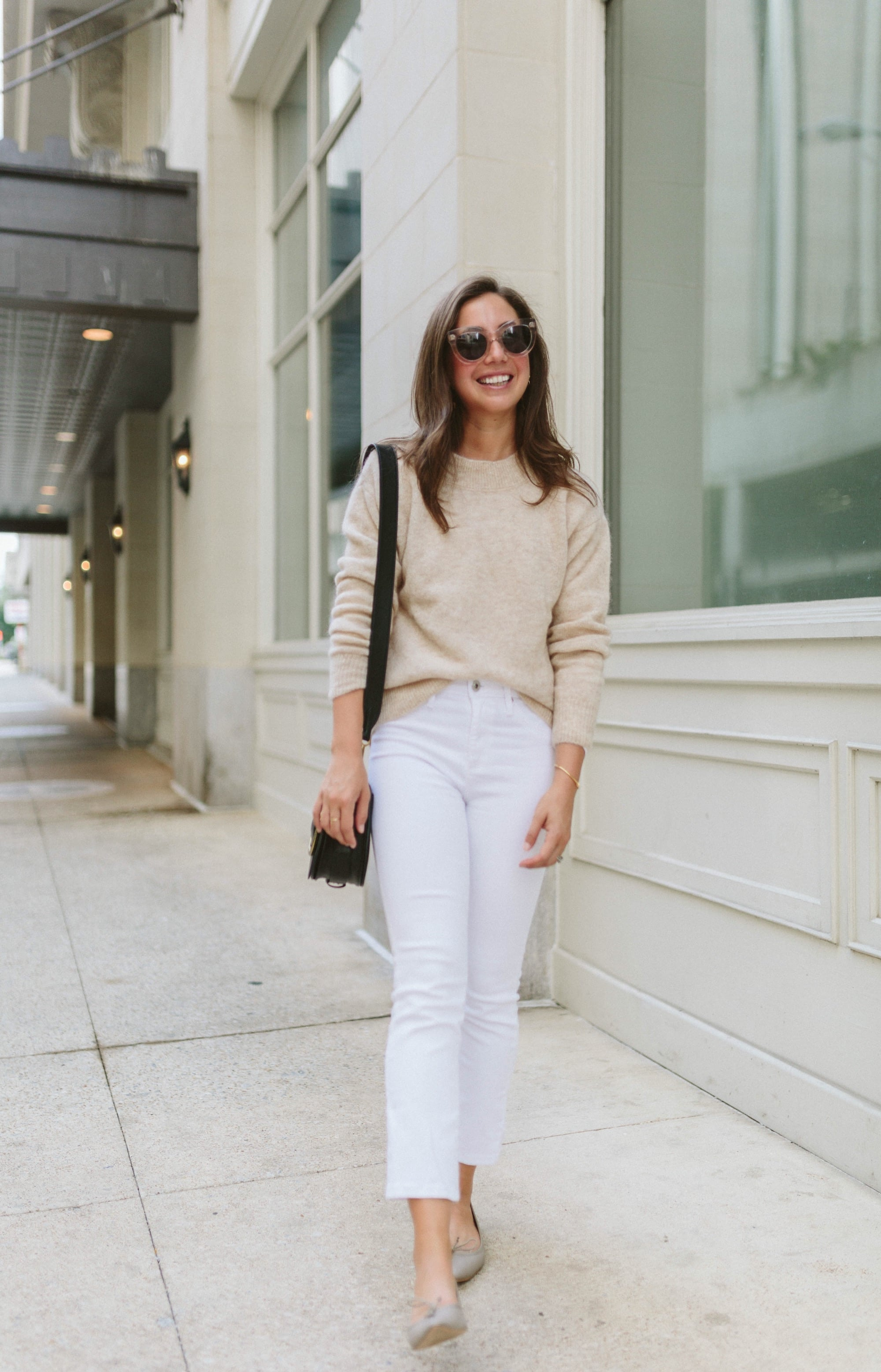 Beige Sweater and White Jeans