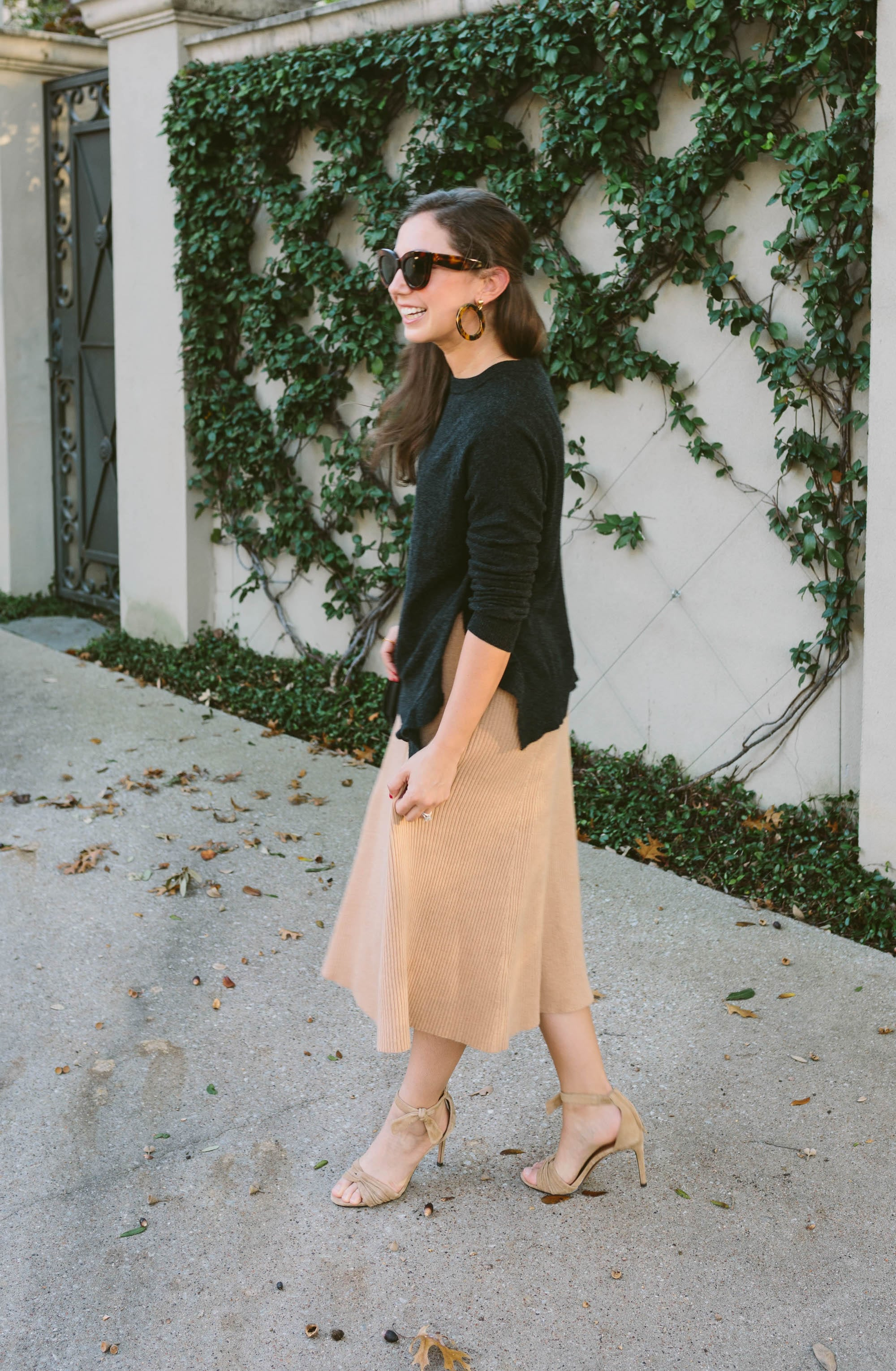 Camel Skirt and Banana Republic Heals