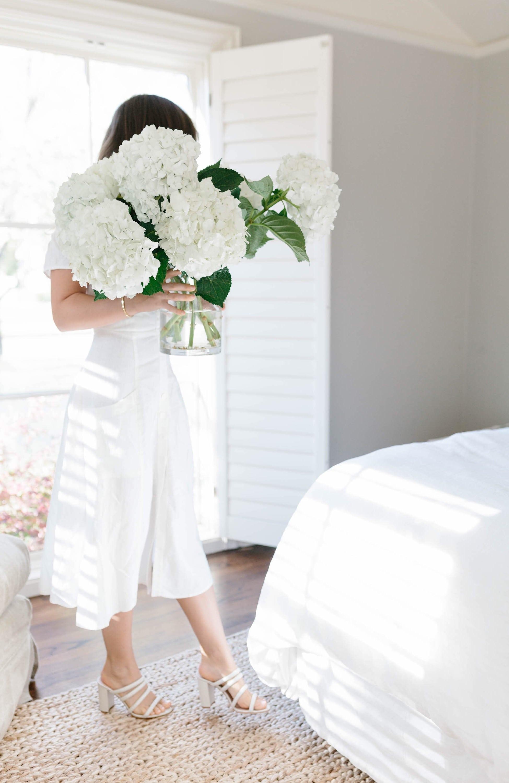 Hydrangeas and White Linen Dress