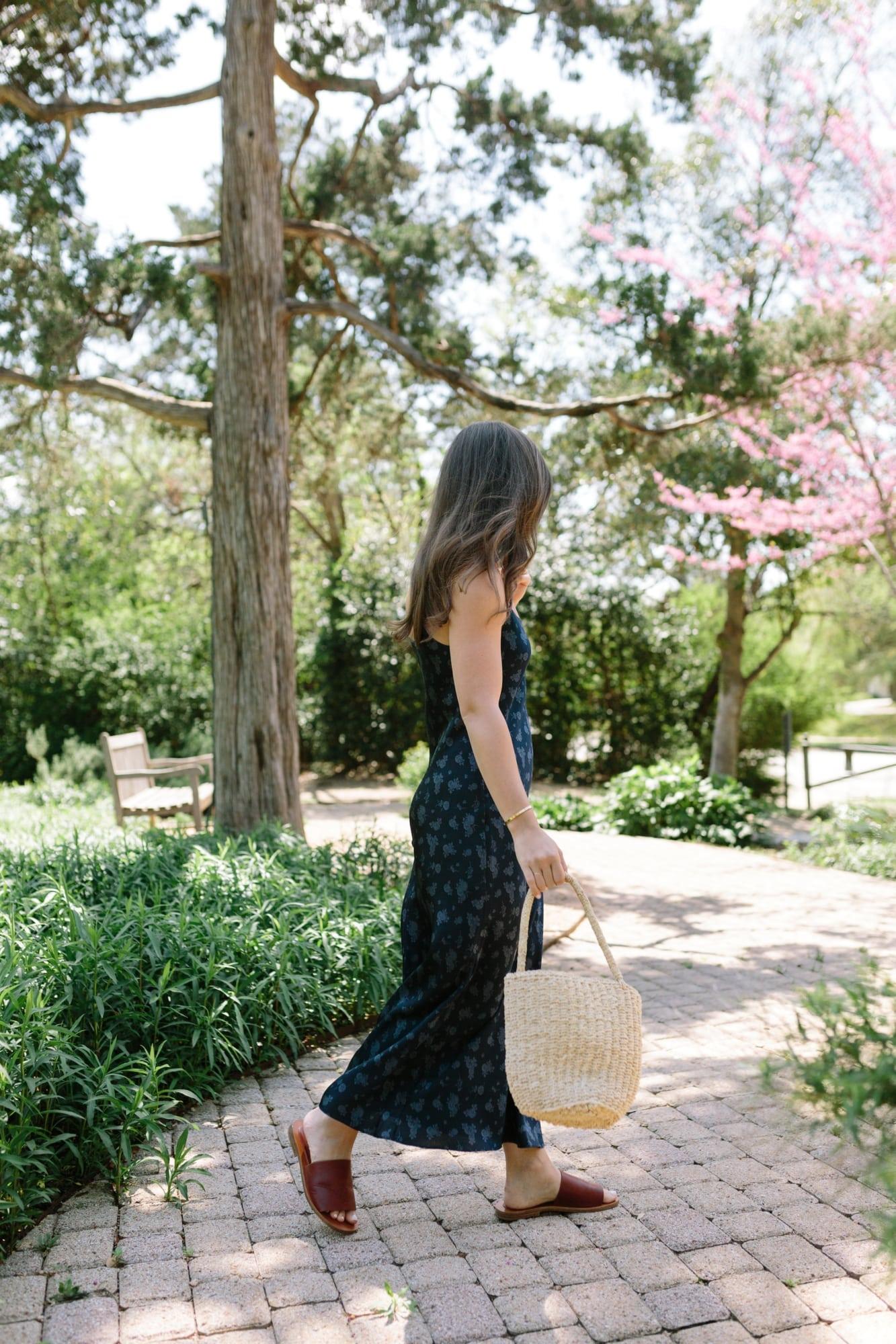 Vince Floral Silk Dress and Basket Bag
