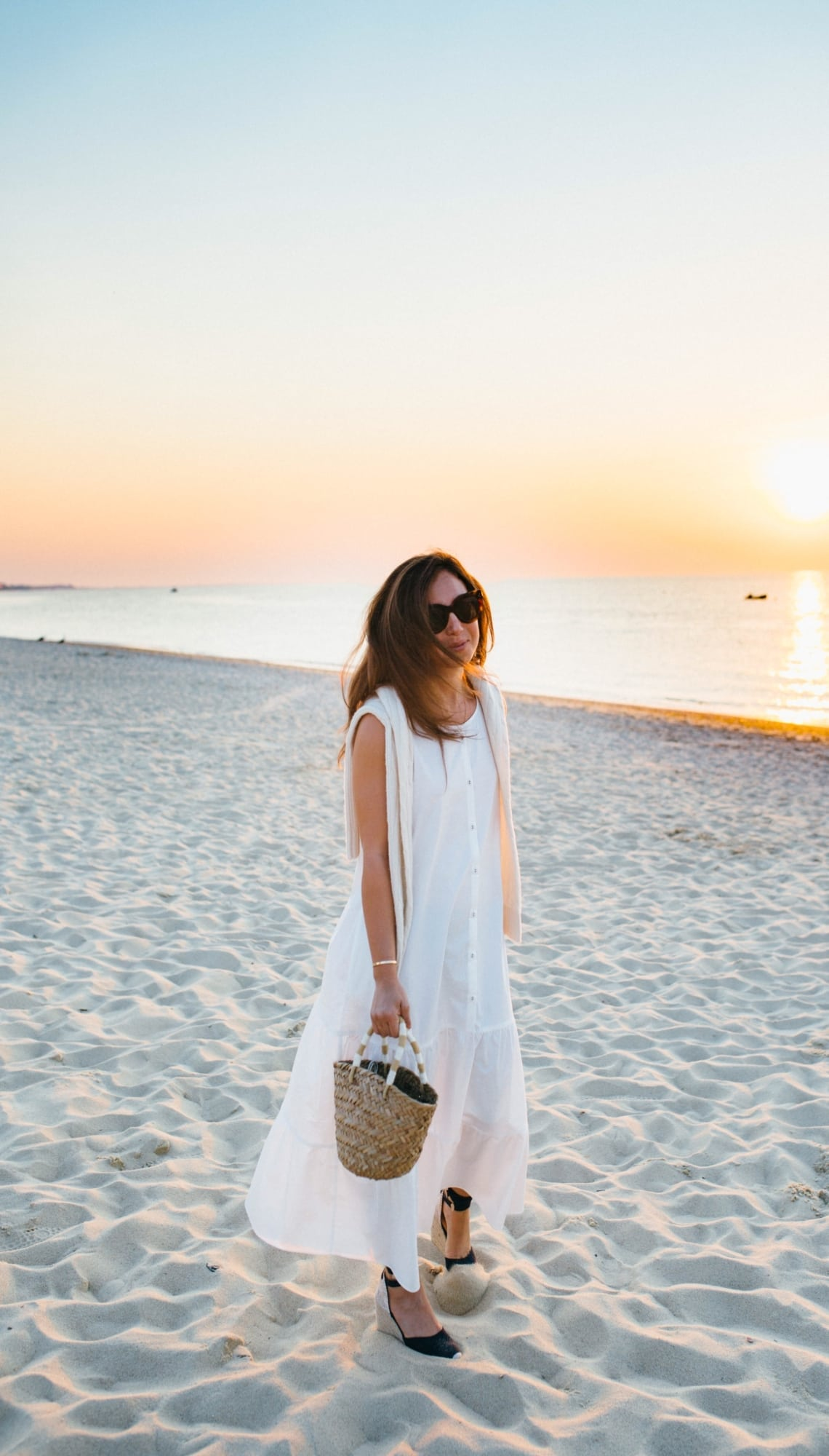 White Dress during Sunset at Galley Beach