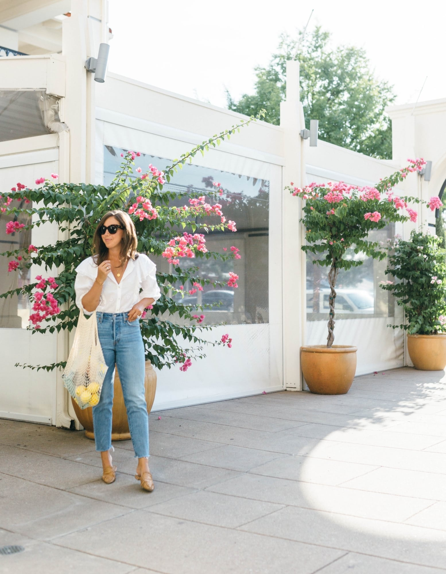 Ali Schilling in Levi Jeans and White Blouse