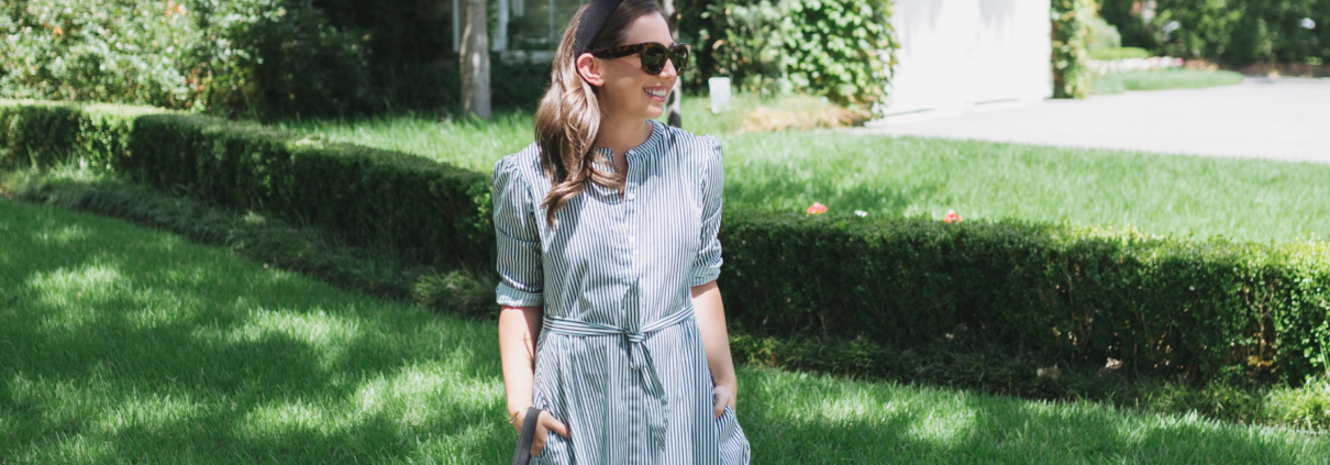 Tuckernuck Green Stripe Shirt Dress